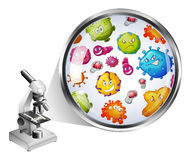 Microscope and zoom picture of bacteria Royalty Free Stock Images