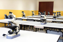 MICROSCOPES IN THE LABORATORY Royalty Free Stock Image
