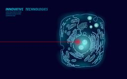 Microscopic animal cell. Modified GMO human cell gene therapy engeneering. Dark blue glowing red laser vector. Illutration art royalty free illustration