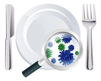 Microscopic bacteria cutlery concept. Of a plate, knife and fork place setting with a magnifying glass showing microscopic bacteria or viruses Royalty Free Stock Photography