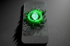 Ethereum Classic Cloner Smartphone. A microscopic closeup concept of small cubes in a random layout that build up to form the ethereum classic symbol illuminated Royalty Free Stock Image