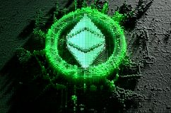 Pixel Ethereum Classic Concept. A microscopic closeup concept of small cubes in a random layout that build up to form the ethereum classic symbol illuminated Royalty Free Stock Image