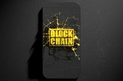Block Chain Cloner Smartphone. A microscopic closeup concept of small cubes in a random layout that build up to form the words block chain illuminated on a Stock Images