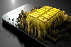 Block Chain Cloner Smartphone. A microscopic closeup concept of small cubes in a random layout that build up to form the words block chain illuminated on a Stock Photography