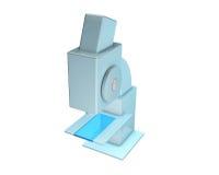 Microscopio científico en el fondo blanco Imagenes de archivo