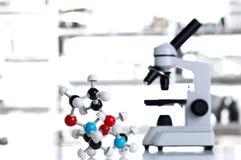 Microscopio con el modelo de la molécula en laboratorio Fotos de archivo