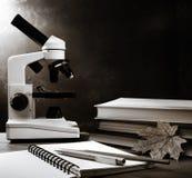 Microscopio, libros y hoja de arce Fotografía de archivo libre de regalías