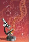 Microscopio y DNA Fotografía de archivo libre de regalías