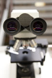 Microscópio em Laboratório do doutor Imagem de Stock
