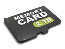 MicroSD memory card, front view 2 TB. 3D Royalty Free Stock Images