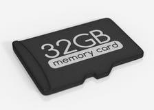 MicroSD memory card. 32 GB. Top view.  on white Stock Photos