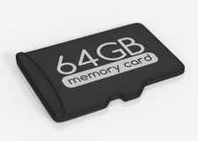 MicroSD memory card. 64 GB. Top view.  on white Royalty Free Stock Images