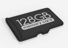 MicroSD memory card. 128 GB. Top view.  on white Stock Photos