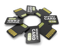 MicroSD memory cards, front and back view 2 TB. Circular arrangement. 3D Stock Image