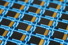 MicroSD memory cards on a tray Stock Photo