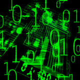 Microsheme and binary code. Illustration of the microscheme and binary code Stock Photo