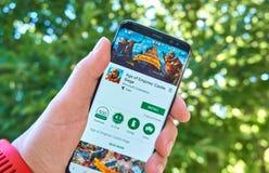 Microsoft-Alter beweglicher APP der Reiche auf Samsung s8 stockbilder