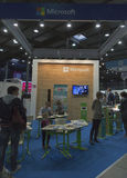 Microsoft company booth at CEE 2015, the largest electronics trade show in Ukraine Stock Photo