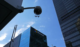 Microsoft corporate building and security camera Stock Photos