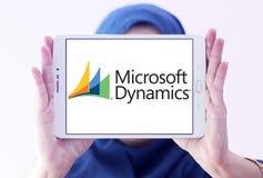 Microsoft Dynamics logo. Logo of Microsoft Dynamics on samsung tablet holded by arab muslim woman. Microsoft Dynamics is a line of enterprise resource planning Royalty Free Stock Photo