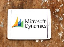 Microsoft Dynamics logo. Logo of Microsoft Dynamics on samsung tablet. Microsoft Dynamics is a line of enterprise resource planning ERP and customer relationship Royalty Free Stock Photo