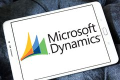 Microsoft Dynamics logo. Logo of Microsoft Dynamics on samsung tablet. Microsoft Dynamics is a line of enterprise resource planning ERP and customer relationship Stock Images