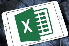 Microsoft Excel logo. Logo of microsoft office excel program on samsung tablet royalty free stock image