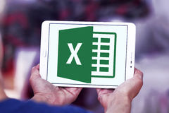 Microsoft Excel logo. Logo of microsoft office excel program on samsung tablet in hands royalty free stock image