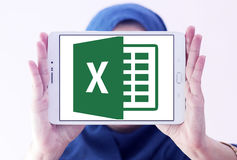 Microsoft Excel logo. Logo of microsoft office excel program on samsung tablet holded by arab muslim woman royalty free stock photos