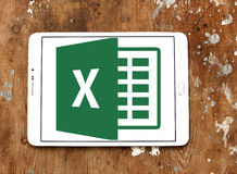 Microsoft Excel logo. Logo of microsoft office excel program on samsung tablet on wooden background Royalty Free Stock Photo
