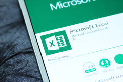 Microsoft excel mobile app stock images