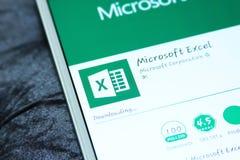 Microsoft excel mobile app. Downloading microsoft excel mobile app from google play store on samsung tablet stock images