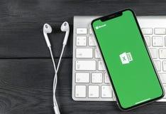 Microsoft Exel podaniowa ikona na Jabłczany X iPhone parawanowym zakończeniu Microsoft Office Exel app ikona Microsoft Office na  fotografia stock