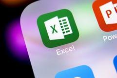 Microsoft Exel podaniowa ikona na Jabłczany X iPhone parawanowym zakończeniu Microsoft Office Exel app ikona Microsoft Office na  obrazy stock