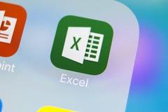 Microsoft Exel podaniowa ikona na Jabłczany X iPhone parawanowym zakończeniu Microsoft Office Exel app ikona Microsoft Office na  obrazy royalty free