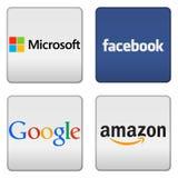 Microsoft Facebook Google amasonknappar Arkivbilder