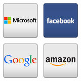 Microsoft Facebook Google Amazon buttons. Microsoft Facebook Google Amazon icon logo button Stock Images