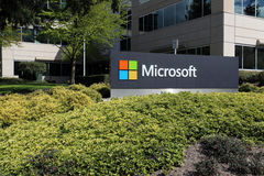 Microsoft Headquarters. Redmond, WA, USA - April 15, 2017: The Microsoft headquarters campus in Redmond. Microsoft is one of the world's largest computer royalty free stock image