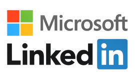Microsoft and Linkedin logos. Kiev, Ukraine - June 13, 2015: Microsoft and Linkedin logos printed on white paper. Microsoft buys Linkedin social media vector illustration