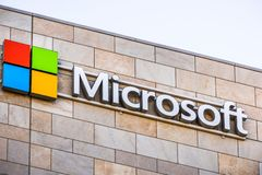 Microsoft logo at the company`s office building stock images