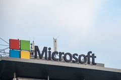 Microsoft logo on their main office for Serbia Microsoft Development Center. Microsoft one of the main softwares manufacturers. Picture of the Microsoft sign on royalty free stock photography