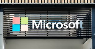 Microsoft logotype on new Lisbon office. Portugal royalty free stock image