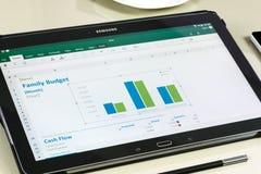 Microsoft Office Excel app στην ταμπλέτα της Samsung Στοκ Εικόνες