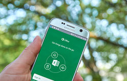Microsoft Office Excel app. MONTREAL, CANADA - MAY 23, 2016 - Microsoft Office Excel application on Samsung S7 stock photography