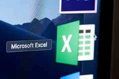 Microsoft office excel green icon on screen. New york, USA - november 15, 2018:Microsoft office excel green icon on device screen pixelated close up view royalty free stock photos