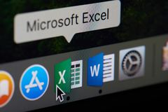 Microsoft office excel icon appliaction. New york, USA - April 12, 2018: Microsoft office excel icon appliaction close-up on laptop screen stock photo