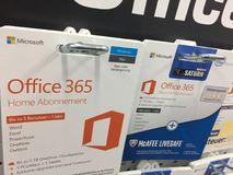 Microsoft Office 365 Home subscription cards royalty free stock images