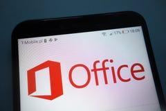 Microsoft Office logo na smartphone obrazy royalty free