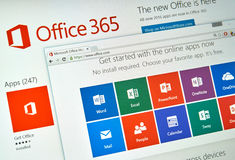Microsoft Office 365. MONTREAL, CANADA - MARCH 20, 2016 - Microsoft Office 365 on PC screen. Microsoft Office is one of the most popular office suite software Royalty Free Stock Photos
