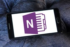 Microsoft office OneNote logo. Logo of Microsoft OneNote on samsung mobile. Microsoft OneNote is a computer program for free form information gathering and multi stock image